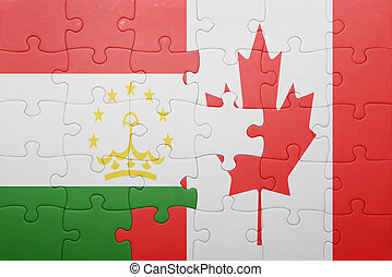 puzzle with the national flag of canada and tajikistan...