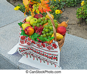 Fruit basket at the festival healthy and ecologically clean...