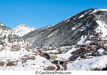 Andorra winter resort Granvalira - Aerial view of El Tarter...