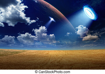 UFO in sky - Sci-fi background - UFO shines spotlight on...