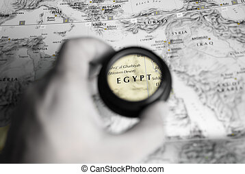 Map of Egypt - Selective focus on antique map of Egypt