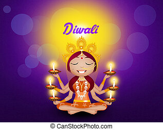 Goddess Kali with candles for Diwali - illustration of...