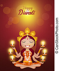Kali goddess for Diwali - illustration of Kali goddess for...