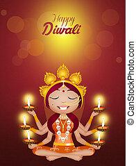 Kali goddess for Diwali - illustration of Kali goddess for...