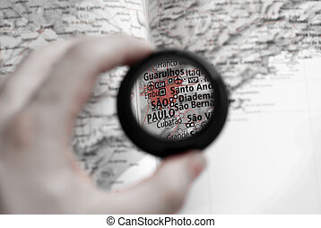 Map of Sao Paulo - Selective focus on antique map of Sao...