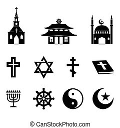 Religion icons vector set Cross and church, bible and...