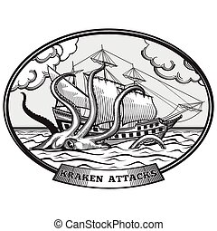 Sailing ship and Kraken monster octopus vector emblem in hand drawn style