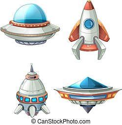 Spaceship and UFO vector set in cartoon style