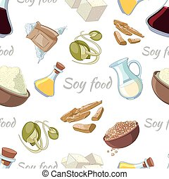 Cartoon soy food seamless pattern. Powder and sprout, tofu...