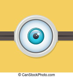 One eye glasses or goggles. Minion yellow closeup lens,...