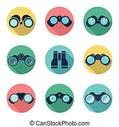 Binoculars flat vector icons set Ddiscovery vision, spy...