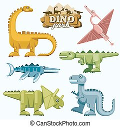 Dinosaur and prehistoric animals flat icons set Pterodactyl...