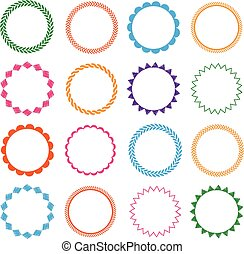 Embroidery stitches vector circle frames set