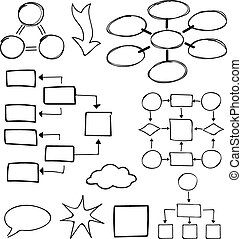 Flowcharts vector set Felt-tip pen and marker objects -...