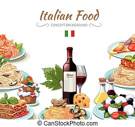 Italian cuisine food background. Cooking lunch pasta,...