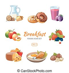 Cartoon breakfast food vector icons set