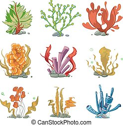 Underwater plants in cartoon vector style. Ocean life,...