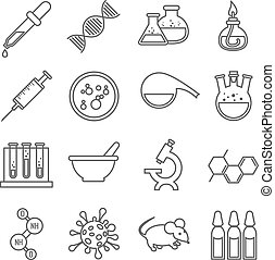 Clinical medical laboratory line vector icons set - Clinical...