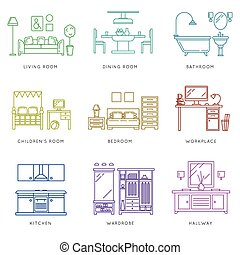 Home rooms interior in linear style Vector icons set - Home...