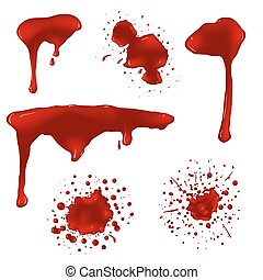 Realistic blood splatters vector set