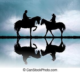 couple on horseback at sunset - illustration of couple on...