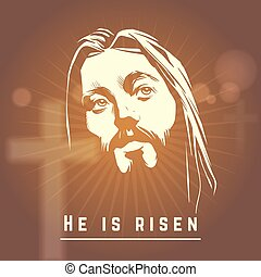 Face of Jesus with He is risen text. Easter christian vector...