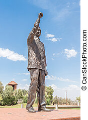 bronze, estátua, de, Nelson, Mandela, ligado, naval, colina,...