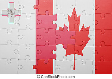 puzzle with the national flag of canada and malta