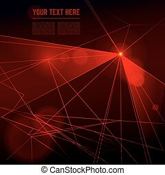 Vector red laser light on dark background