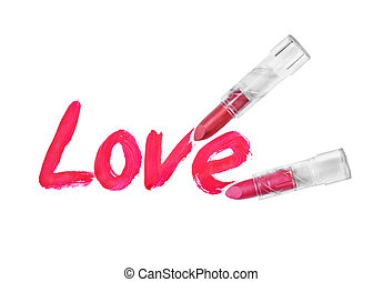 love words written by red lipstick on white background