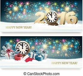 Feliz, Novo, ano, fundo, com, presentes, e, fireworks.,...