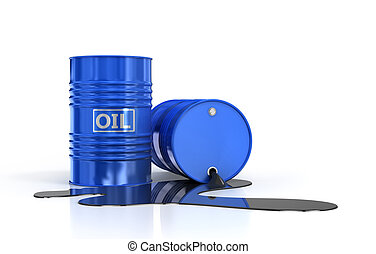 Two oil barrels and poured oil on a white background