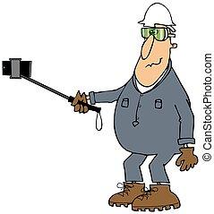 Worker taking a selfy