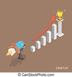 Startup isometric flat vector concept. Man with a rocket on...