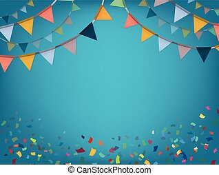 Celebrate banner. Party flags with confetti. Vector...