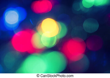 Red, green and blue defocused lights background. Christmas...
