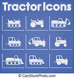 Various Tractor and Construction Machinery Icon set...