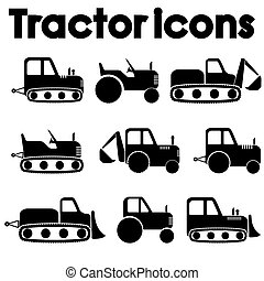Cut Out Black Various Tractor and Construction Machinery...