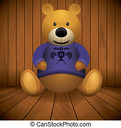 Teddy bear brown stuffed toy print on chest wooden...