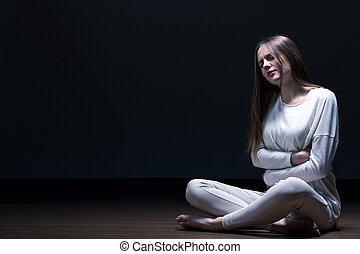 Girl with anorexia nervosa