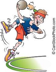 A handball girl jumping - Vector cartoon illustration of a...