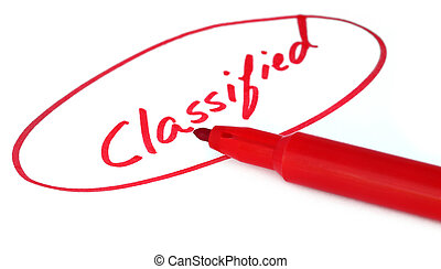 Classified written in red letters with sign pen