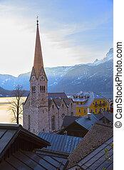 Church clock tower of Hallstatt