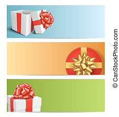 Three Festive Christmas Cards with Gift Boxes Isolated on White