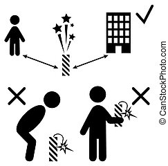 Set of Pyrotechnics Safety Precaution Measures Information Rules Flat Black Pictograms People Icons Isolated on White