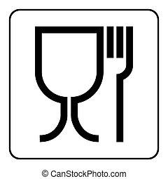food black sign - Food safe sign. International emblem on...
