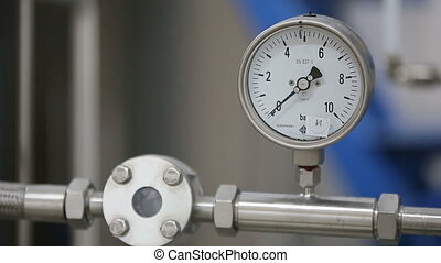 Manometer on laboratory pipeline, pressure gauge