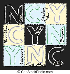 NYC print design - New York city Typography Graphics....