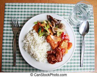 alimento, porção, Asiático