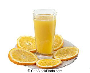 Orange juice and slices of orange isolated on white.